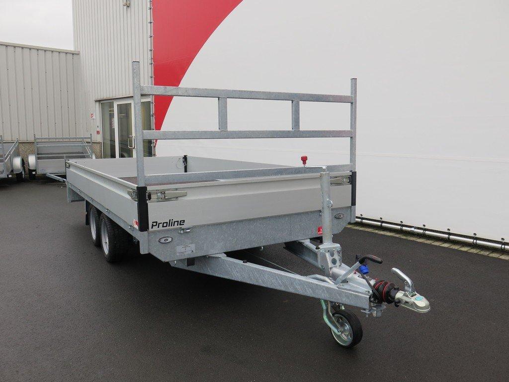 Proline plateauwagen 401x185cm 2700kg verlaagd Aanhangwagens XXL West Brabant 3.0 voorkant Aanhangwagens XXL West Brabant