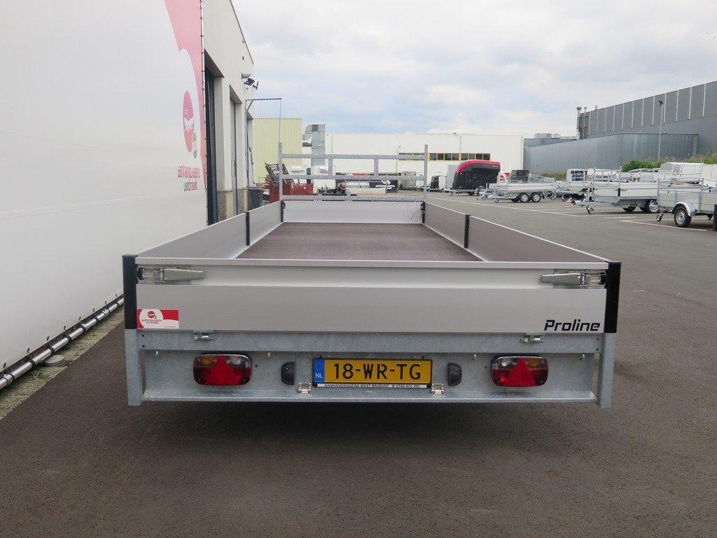 Proline plateauwagen 603x222cm 3500kg verlaagd Aanhangwagens XXL West Brabant 2.0 achterkant Aanhangwagens XXL West Brabant
