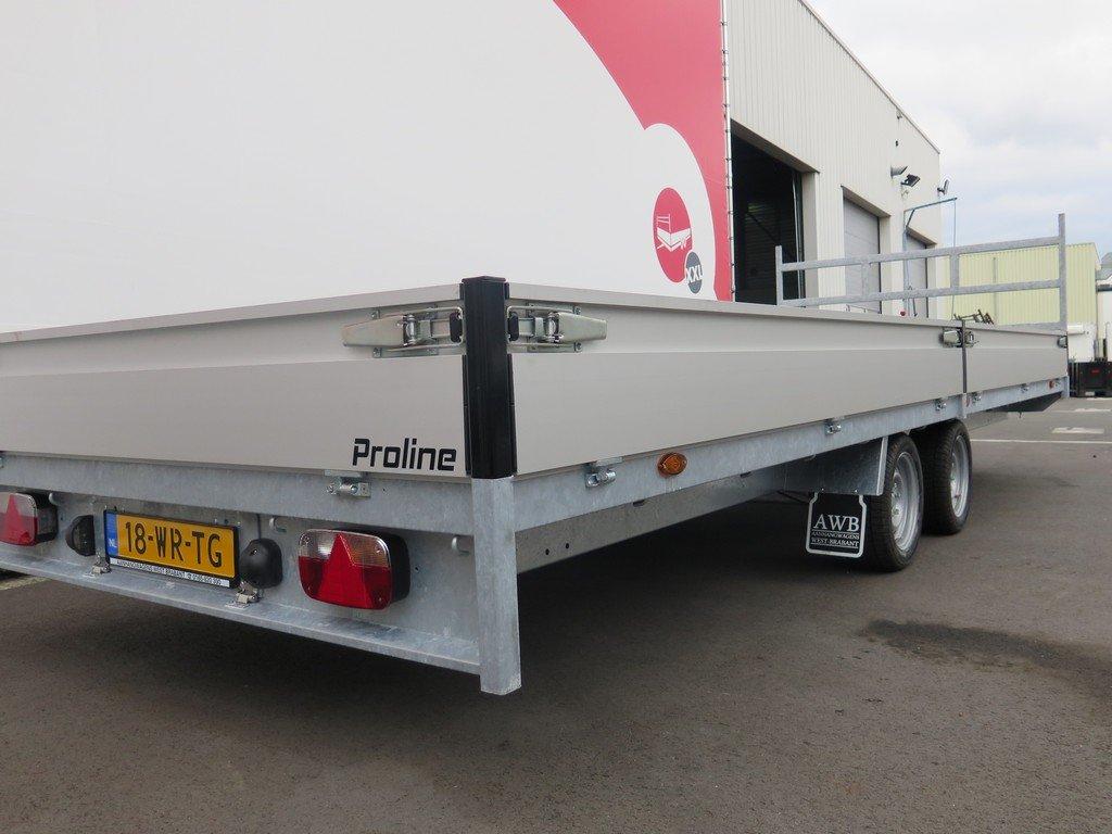 Proline plateauwagen 603x222cm 3500kg verlaagd Aanhangwagens XXL West Brabant 2.0 zijkant Aanhangwagens XXL West Brabant