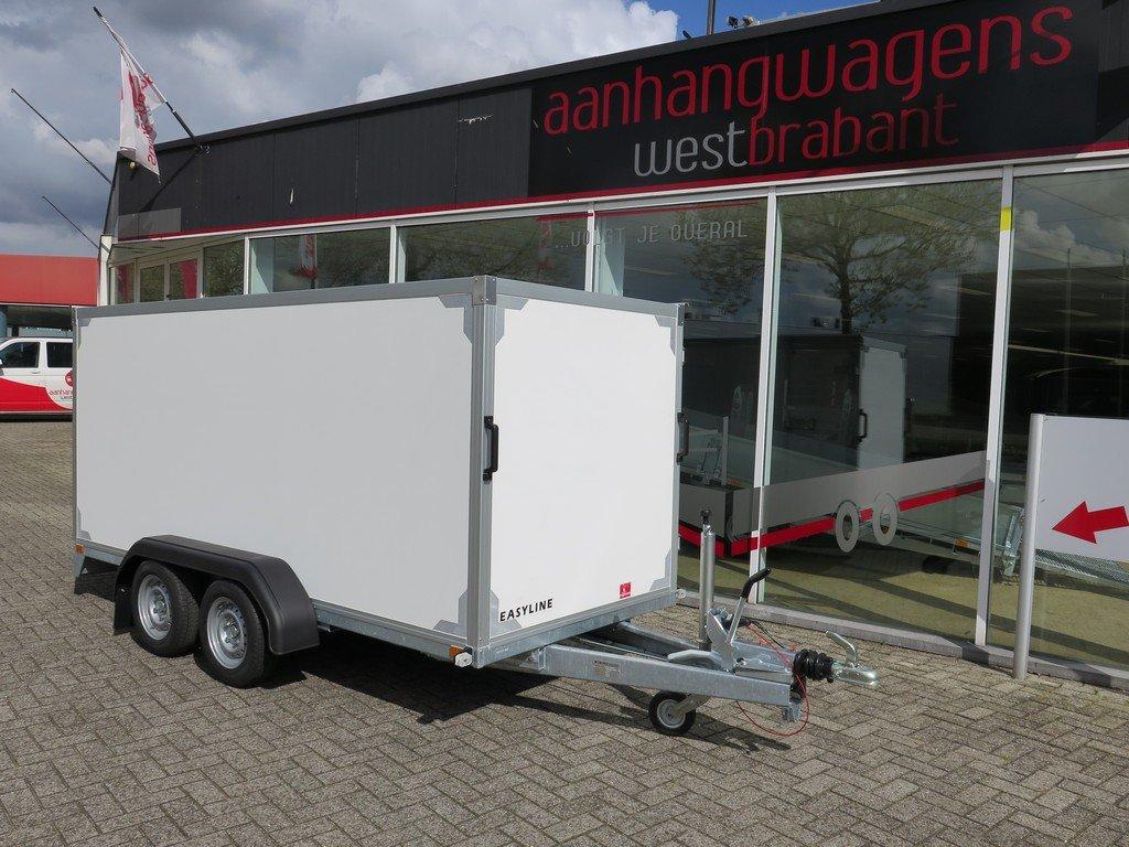 Easyline gesloten ballonwagen 350x140x145cm 1500kg speciaalbouw Aanhangwagens XXL West Brabant voorkant schuin Aanhangwagens XXL West Brabant