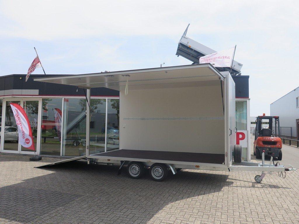 Proline gesloten aanhanger 425x204x230cm 2600kg Aanhangwagens XXL West Brabant zijkant open Aanhangwagens XXL West Brabant