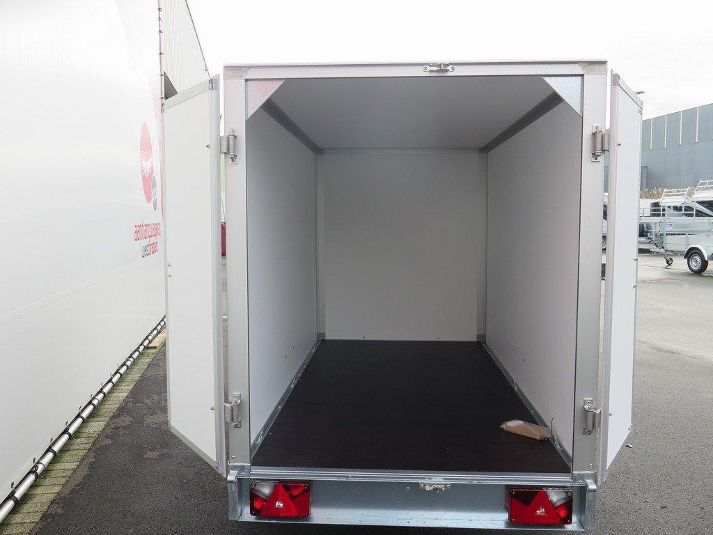 Saris gesloten aanhanger 256x134x150cm 1350kg grijs Aanhangwagens XXL West Brabant achter open